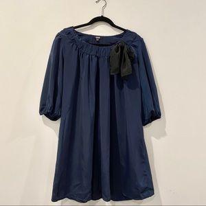Asos Navy Blue Off The Shoulder Dress